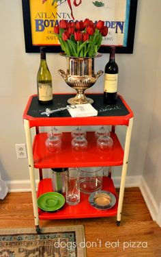 Transform an old cart into a cool, chalkboard-topped bar.