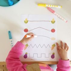 Tracing activities - i always keep a few in hand, great for #inflighttoddleractivity or to keep her busy at home, this  veggie printable is from @simplylearning and she loved it - great for developing fine motor skills ;)