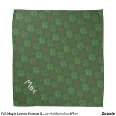 Fall Maple Leaves Pattern Green Pet Name Template Bandana