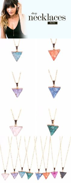 Druzy necklace trendy pendant drusy necklaces for layering. Gypsy boho drusy jewelry necklaces.