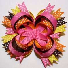 Fall Autumn Brown Orange Pink Yellow Stacked Boutique Hair Bow