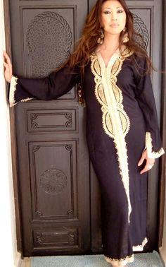 Black Moroccan Caftan Dress Long Lella Style by MaisonMarrakech, $65.00