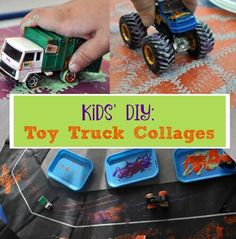Let your child use toy trucks to create these fun art projects.