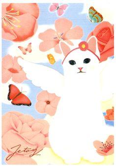 Jetoy Cat Heaven Postcard: White Angel http://shop.kawaiidepot.com