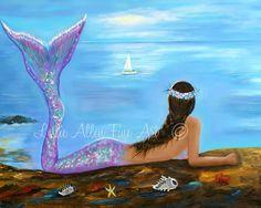 Impresión del arte sirena sirena pintura sirenas sirena Art