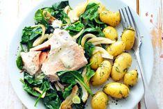Zalm in roomsaus met dillekriel, spinazie en venkel - Recept - Allerhande