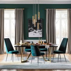 Finley Low Back Velvet Dining Chair West Elm. Finley Low Back Velvet Dining Chair West Elm Canada. Finley Low Back Velvet Dining Chair West Elm Australia. Home and Family Green Dining Room, Luxury Dining Room, Dining Room Sets, Dining Room Design, Dining Room Furniture, Modern Furniture, Peacock Dining Room, Turquoise Dining Room, Dining Room Paint