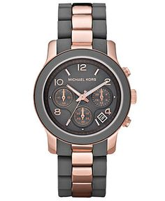 Michael Kors Watch, Women's Chronograph Runway Rose Gold Tone Stainless Steel and Gray Silicone Bracelet 39mm MK5465 - All Michael Kors Watches - Jewelry & Watches - Macy's