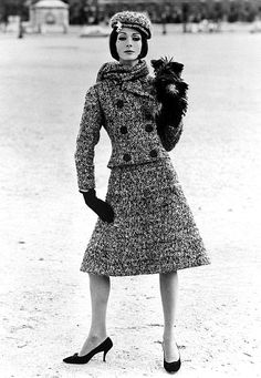 bygonefashion: John French 1960s - Tweed A Line Suit