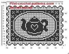 Rectangular doily crochet pattern filet for tray whit teapot