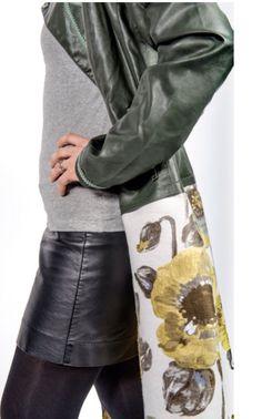 Rider in simil-pelle con aggiunta gonna tessuto tappezzeria fiori... By Pina pi❤️, capo unico.