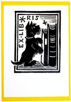 Ex Libris. Bookplate. Scottie Dog, Books. Pack of 25 for £2.99 from the Literary Gift Co.