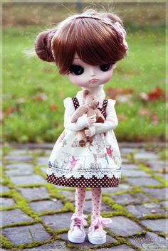 """Today was the first time Lilian went outdoors (in germany! :D)    me: """"and, what do you think?""""  Lily: """"it's...cold!""""  me: """"haha yep cus you wanted to wear this, very adorable but cold, dress!""""  Lily: -.-' """"ñaa...well at least I look cute and teddy is wit"""