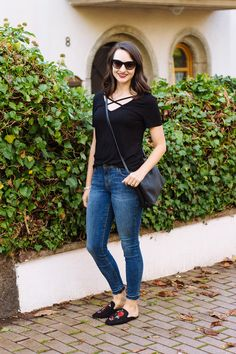 Criss Cross Tee + Embroidered Mules | Countdown to Friday