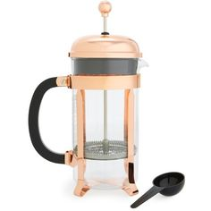 Bodum 'Chambord Classic' French Press (170 PLN) ❤ liked on Polyvore featuring home, kitchen & dining, kitchen gadgets & tools, copper, french coffee presses, bodum cafetiere, bodum coffee press, copper french press and bodum