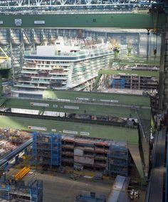 Quantum of the Seas blocks alongside Norwegian Getaway in Hall 6 at Meyer Werft Papenburg, Germany