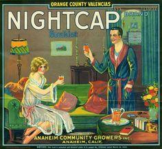 Anaheim NightCap Orange Citrus Crate Label Art Print