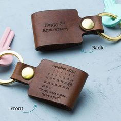 Personalised third wedding anniversary leather keyring Source Related posts: Personalised Time Print – Leather Anniversary Third wedding anniversary coming. 3 Year Wedding Anniversary, 3rd Anniversary Gifts, Boyfriend Anniversary Gifts, Boyfriend Gifts, Leather Anniversary Gift, Personalised Keyrings, Leather Keyring, Balcony Design, Balcony Ideas
