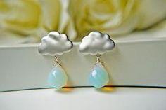 Matte White Gold Rain Cloud Earrings. Opalite Briolette Rain Drops. Rainy Season | Luulla