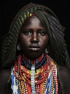 Photographic Print: Arbore girl portrait, Ethiopia, Africa by Neil Thomas : 32x24in