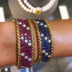 Just one day left of our pre-sale exhibition, as we gear up for Fine Jewels in Geneva on Thursday! Among the delightful pieces on offer is this pair of gem set and diamond bracelets adorned with rubies and sapphires. Hundreds of fabulous jewels await you in our #geneva gallery ahead of Thursday's auction. Stop by tomorrow to find the one(s) perfect for you! #sothebysjewels #sothebysgeneva