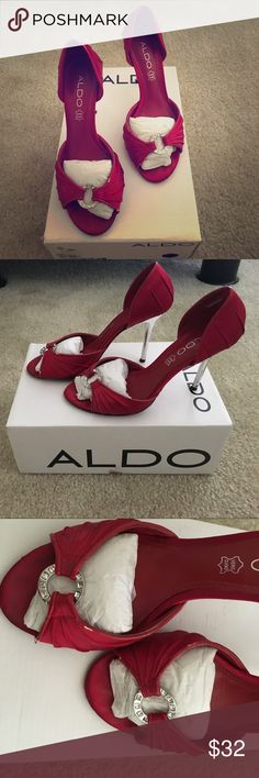 Also - mogalecity Red heels. Simple design. Worn it twice. Goes well with all type of occasion and outfit. The heels is just slightly to high for me and a bit loose. The shoes are in wonderful condition still Aldo Shoes Heels