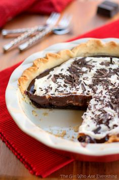 "Chocolate Cream Brownie Pie. Previous pinner said: ""This tastes better than it looks...if that's possible."""