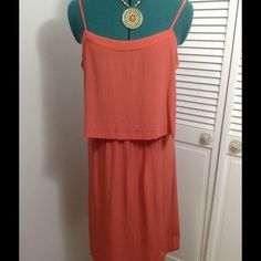 Madewell Burnt Orange t-strap silk dress. This is a super cute silk dress that is lined by Madewell.  Dress up/dress down with sandals flip flops jean jacket endless possibilities!  New with tags! Madewell Dresses Midi
