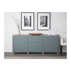 BESTÅ Storage combination with drawers Oak effect/valviken grey-turquoise 180x40x74 cm - IKEA