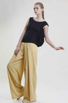 pleated yellow cupro pants Spring Summer 15