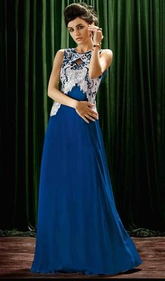 Plunge into elegance in this blue color embroidered crepe silk gown. The appealing resham and sequins work in gown is awe-inspiring.  #bluecolorgown #floorlengthgown #stylishgown