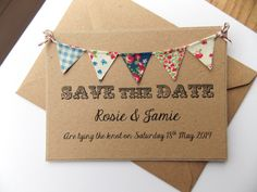 Save The Date Fabric Bunting Wedding Invitation, Country Fete Rustic Summer Wedding Kraft Card via Etsy