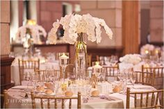 all white centerpiece, orchid centerpiece, phalaenopsis orchids #moderndesign #fleurtaciousdesigns -Tiffany Wayne Photography