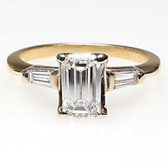 Yeah... I'm starting to realize that I love pretty much every cut of diamond... Vintage Emerald Cut Diamond Engagement Ring w/ Baguette Accents Solid 14K Gold