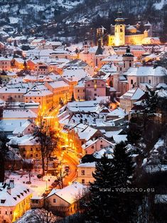 ***Village of Štiavnické Bane (Slovakia) by Veronika and Daniel Winter Photos, Winter Wonderland, Times Square, Wanderlust, Europe, Architecture, Street, City, Travel