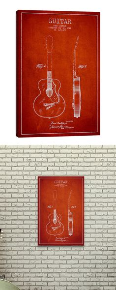 Boasting a memorable piece of musical history, this Rock 'n Roll Blueprint Canvas Print will surely strike a chord with any true music lover. Set on a bold red backdrop, this print features a rendering...  Find the Rock 'n Roll Blueprint Canvas Print, as seen in the Art Collection at http://dotandbo.com/category/decor-and-pillows/for-the-wall/art?utm_source=pinterest&utm_medium=organic&db_sku=118353