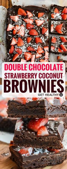 This recipe for Double Chocolate Strawberry Coconut Brownies is delicious, dense, and a healthier spin on everybody's favorite dessert! This recipe has no flour, granulated sugar, or butter! It's a very clean dessert- it's gluten-free, grain-free, soy-free, vegetarian and paleo friendly! Everybody can enjoy this–and EVERYBODY will love it on Valentine's Day! The strawberry & coconut make the red & white topping perfect for the holiday.