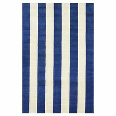 Stylishly anchor your living room or master suite with this eye-catching wool rug, showcasing a delightful stripe motif in blue.   Product: RugConstruction Material: WoolColor: Blue and white Note: Please be aware that actual colors may vary from those shown on your screen. Accent rugs may also not show the entire pattern that the corresponding area rugs have.Cleaning and Care: Professional cleaning recommended