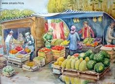 Indian Marketplace Drawing India sketch Fruit Sel...