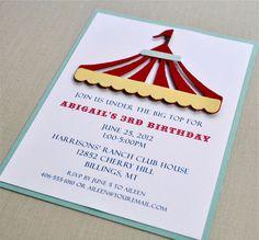 Under the big top birthday shower invitation