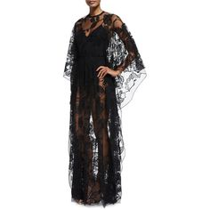 Elie Saab Sheer Floral-Lace Long-Sleeve Gown ($8,820) ❤ liked on Polyvore featuring dresses, gowns, black, long sleeve lace gown, sheer lace gown, floral gown, long sleeve gowns and see through dress