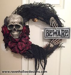 finished skull and roses Halloween wreath