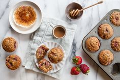 Honey-Roasted Strawberry Muffins | A Sweet Spoonful