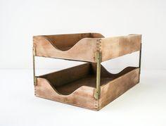 Vintage Stacking FIle Holder Wood / Industrial by tawneyvintage, $38.00