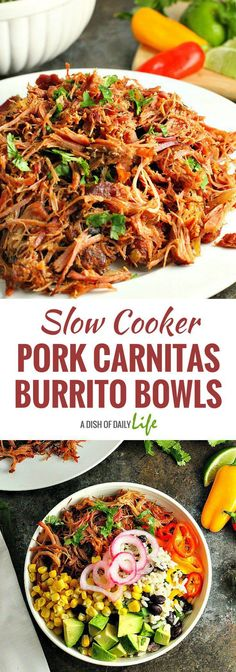 Add a new twist to Mexican night with these Slow Cooker Pork Carnitas Burrito Bowls! Black bean cilantro lime rice is topped with flavorful slow cooker pork carnitas and your favorite toppings for a delicious (and healthy) dinner! Slow Cooker Pork, Slow Cooker Recipes, Cooking Recipes, Crockpot Recipes, Crockpot Deserts, Dinner Crockpot, Slow Cooking, Healthy Dinner Recipes, Mexican Food Recipes