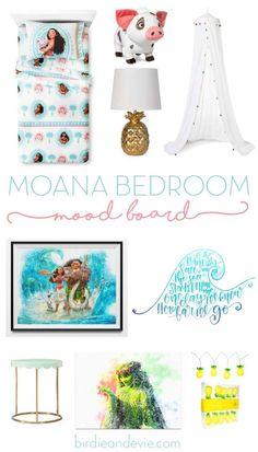 Moana Bedroom Mood Board | Ideas & Inspiration for a little girl Moana bedroom
