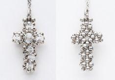 Beaded Cross PATTERN silver