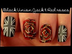 Black Union Jack & Red Roses nail art