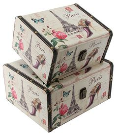Beautiful Paris Themed Set of Two Rectangular Storage Boxes by Haysom Interiors