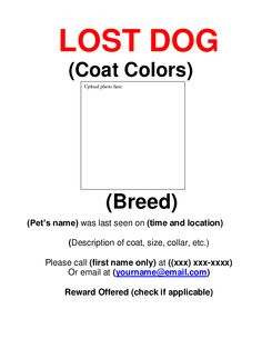 Lost Pet Template. make amazing missing pet flyers in minutes ...